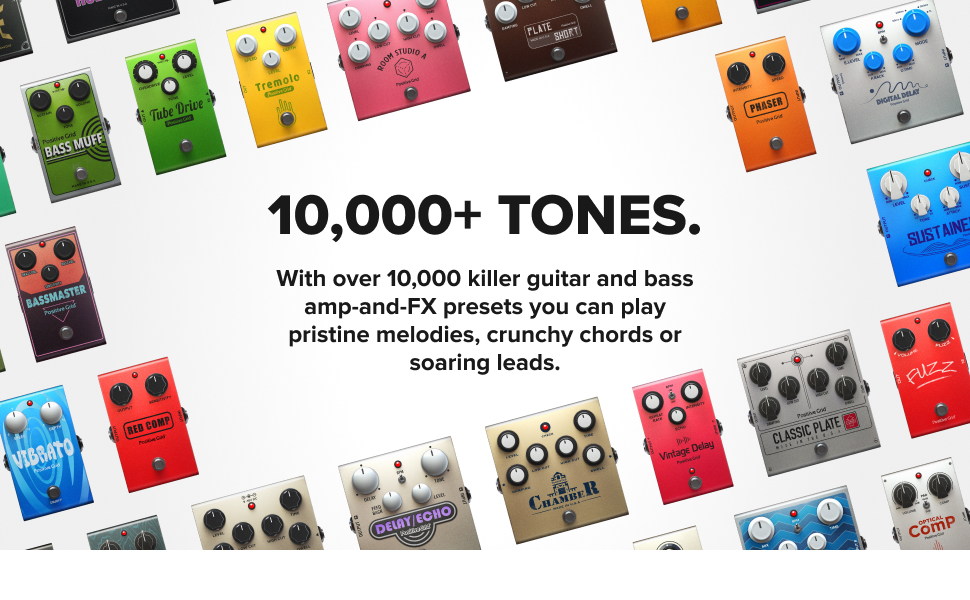With over 10,000 killer guitar and bass amp -and-FX presets you'll never run out of inspiration.