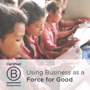 Nepalese students in class with Certified B Corporation