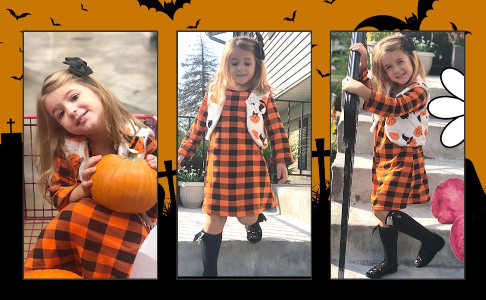 Little Girls Orange Plaid Halloween Dress Clothing Sets