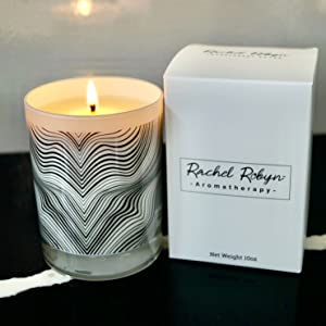 Container Candle jar with gift box. White candle with black and white waves design.