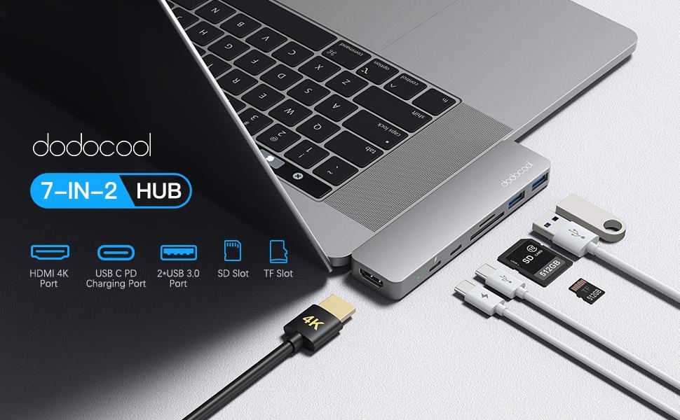 L'hub multiporta 7-in-2 in alluminio con due porte USB-C è perfetto per MacBook Pro e MacBook Air.
