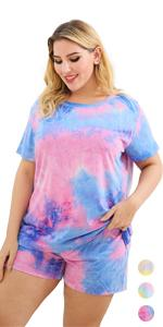 Different color collocation casual tie-dye makes you look beautiful;comely; fair; especial