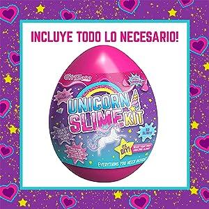 Egg Slime Kit Huevo de slime regalo para niñas kit cumpleaños para chicas Unicornio DIY 5 6