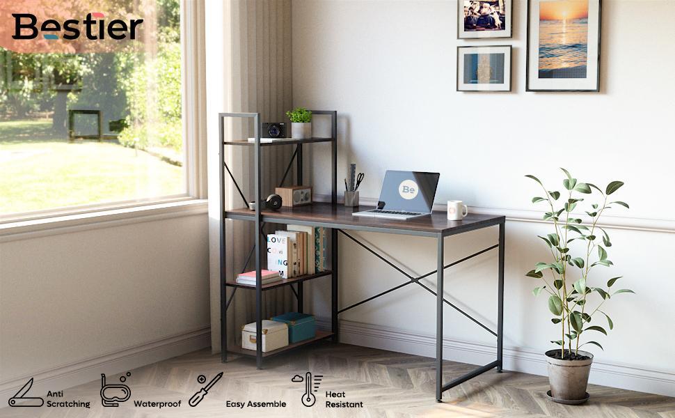 bestier computer desk with storage shelves 47 inch