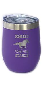 Text says Horses Keep Me Stable, with design of a running horse silhouette.
