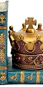 Bellaa Decorative Bookends Chess King Queen Bookshelf Office Library Gifts Golden