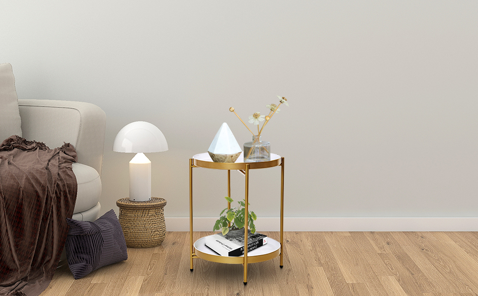 Goldwhite side table