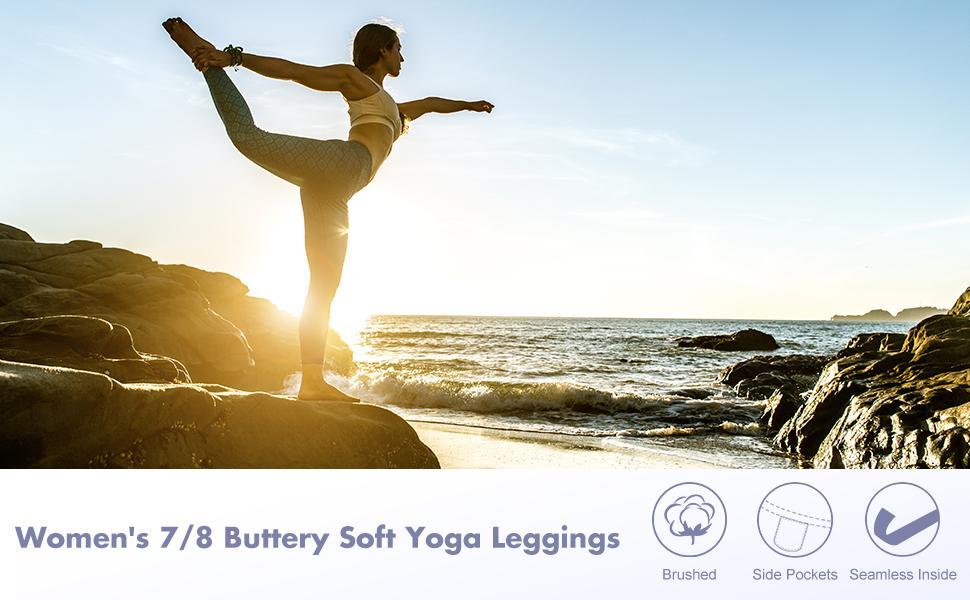 women 7/8 high waist buttery soft yoga leggings