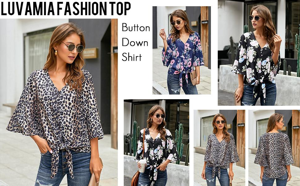 Loose Bell Sleeve Tops for Women button down shirts women casual work tops blouses