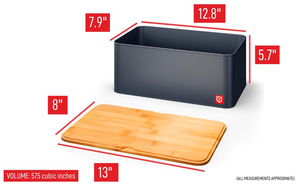 Kensington London - Space Saving Bread Box and Bamboo Chopping Board dimensions