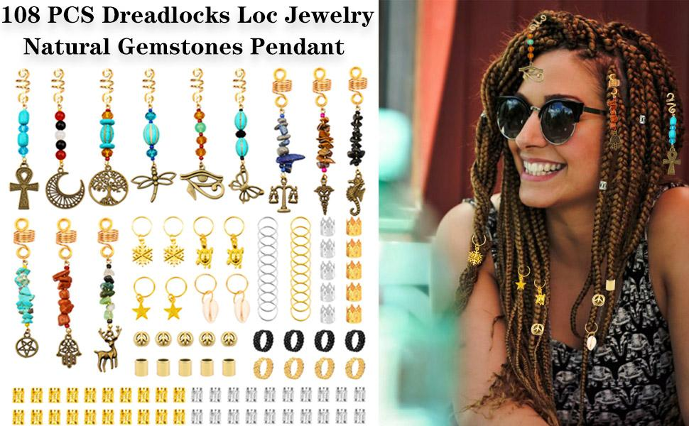 108 PCS Dreadlocks Loc Jewelry Natural Gemstones Pendant