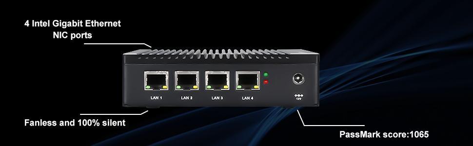 4 intel gigabit ethernet NIC ports, fanless cooling design to keep 100% silent