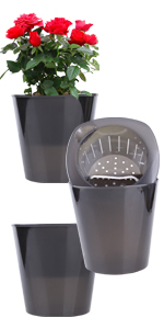"""3pcs 7.28"""" self watering black transparent flower pots planters"""