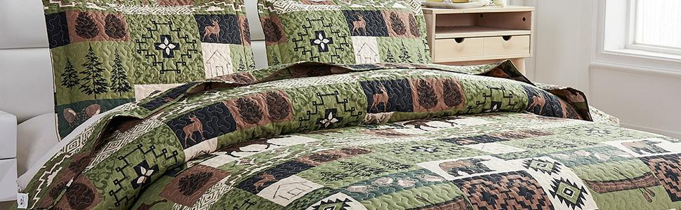 Moose Elk Bedspread Set