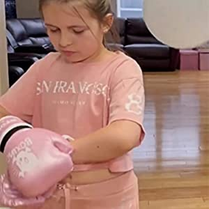 kids pink boxing gloves