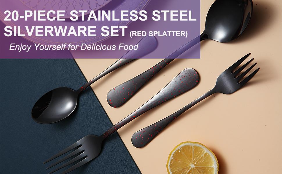 ZOKILE 20-Piece Stainless Steel Silverware Set (Red Splatter)
