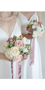 7-inch Dusty Rose Bridesmaid Bouquet (Set of 4)