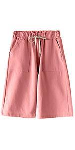 Womens Comfy Casual Bermuda Shorts Elastic Waist Drawstring Loose Fit Cotton Cargo Shorts