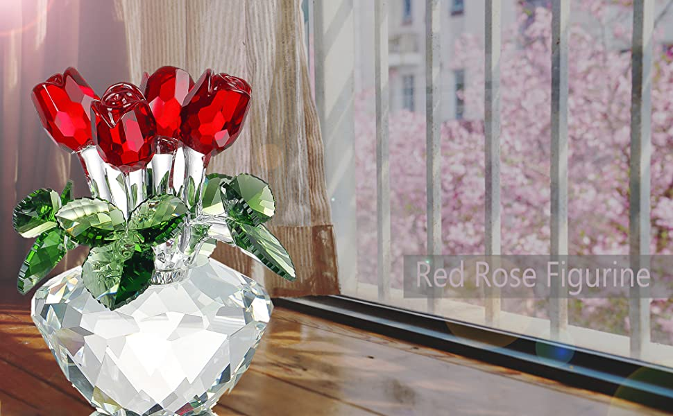 Excellent addition to your glass collection Glass Red rose flower unique gift.