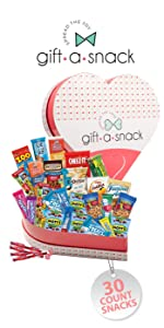 Heart shaped snack gift basket filled with snacks