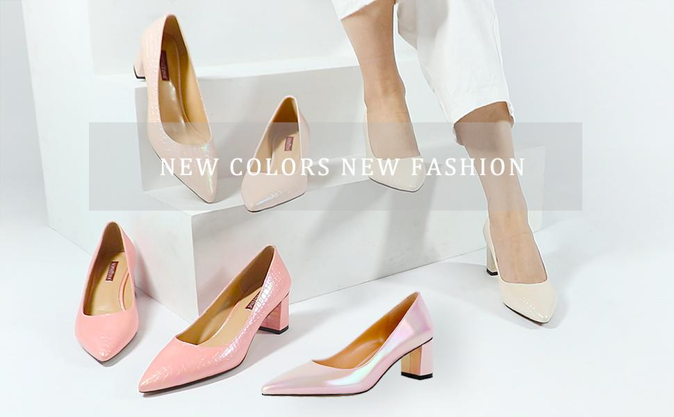 sophitina women block chunky mid high heel pumps