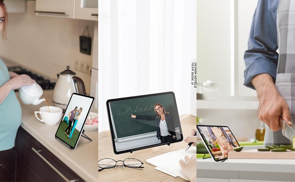 soporte tablet  memumi Soporte para Tablet, Universal Multi-Ángulo 180° Ajustable Metal Soporte de Tablet Antideslizante Soporte de Escritorio para iPad 10.2 Pro 11 2021 Air 4/para Samsung Tab y Todas Las Tabletas 854503fd 6c0f 40d3 8daa 1086c4880fed
