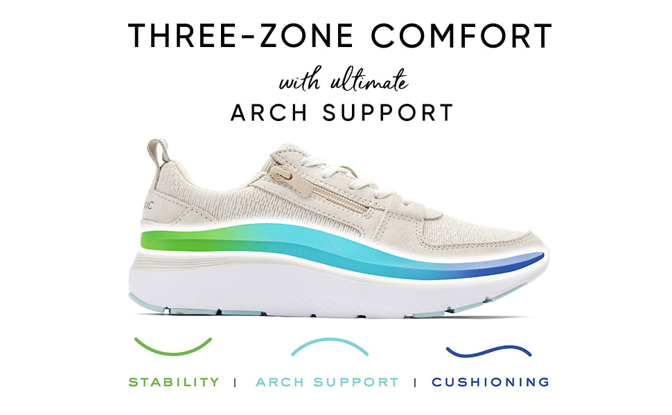 Vionic Shoes Three-Zone Comfort Arch Support Stability Cushioning Womens Ladies Trainers