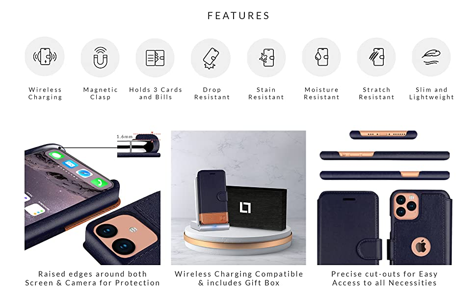 Slim Wallet Case for iPhone, Wireless Charging Compatible, Magnetic Clasp, Lightweight