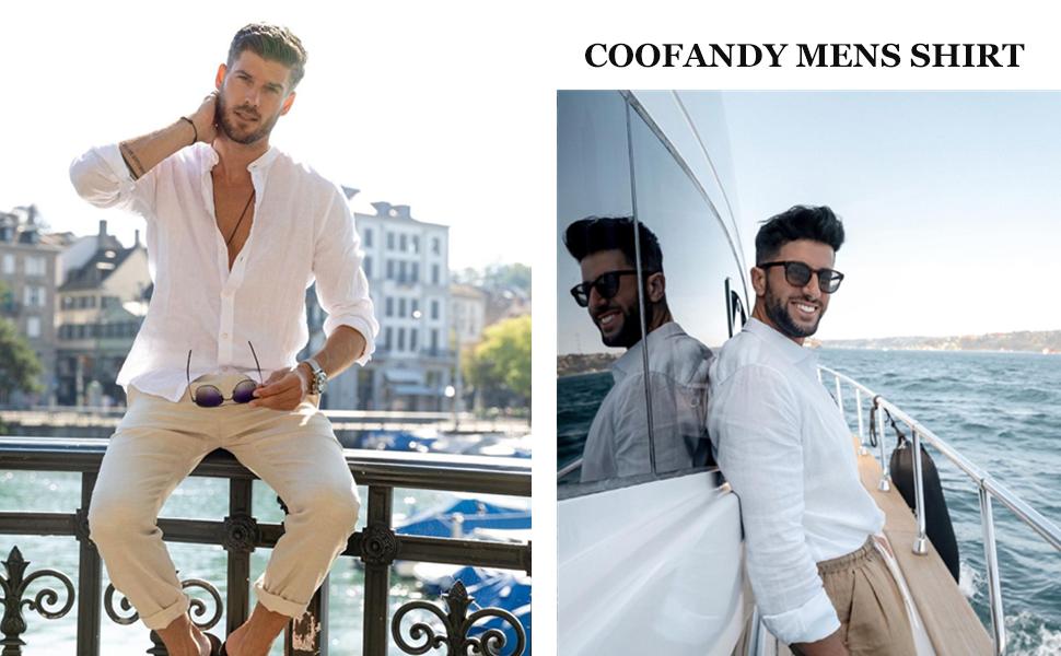 COOFANDY mens long sleeve linen shirt beach shirt