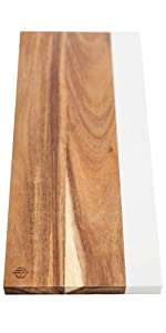 Non Etching Faux Marble and Acacia Wood Cheese Board without Handle