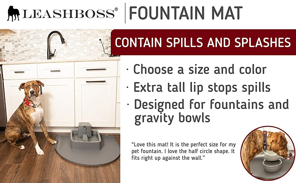 Leashboss Fountain Mat silicone mat for fountains and gravity bowls with large dog