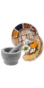 ChefSofi Cheese Board + ChefSofi Standard and EXTRA Large Mortar and Pestle Sets