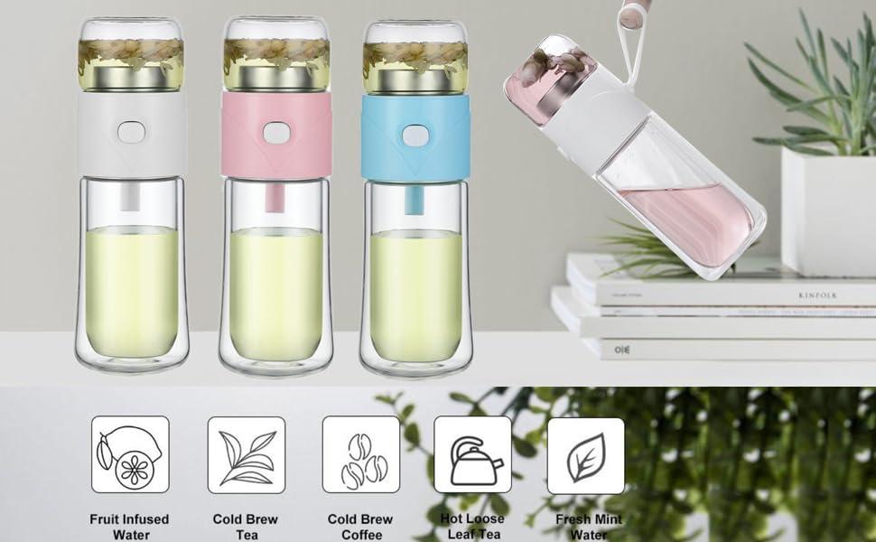 Glass Tea Infuser Bottle Double Wall Borosilicate Glass Travel