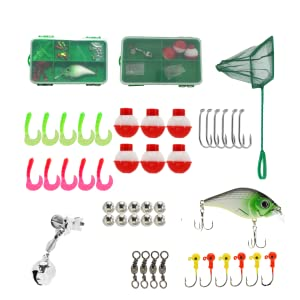 Fully loaded tackle box and bait net