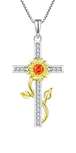 Starchenie Sunflower Cross Pendant Necklace 925 Sterling Silver