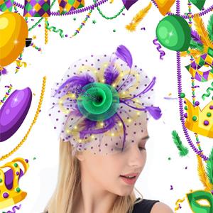 Mardi Gras Fasciantors Headwear purple kentucky derby hats for women