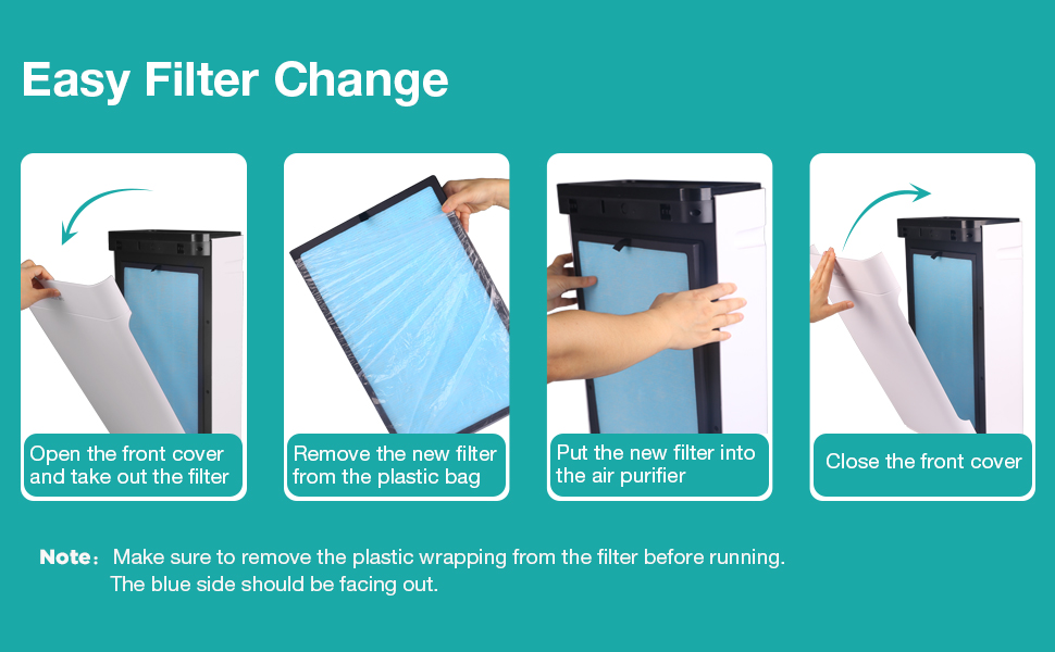 Steps to install a new filter and replace a used filter for your SimPure HP8 air treatment device