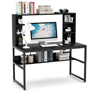 Metal Legs Table Desk with Upper Storage Shelves for Study Writing/Workstation, Easy Assemble