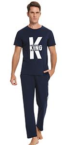 Men Pjs Pajama Set Cotton Loungewear Nightwear Sleepwear Short Sleeve Top Bottoms Outfits
