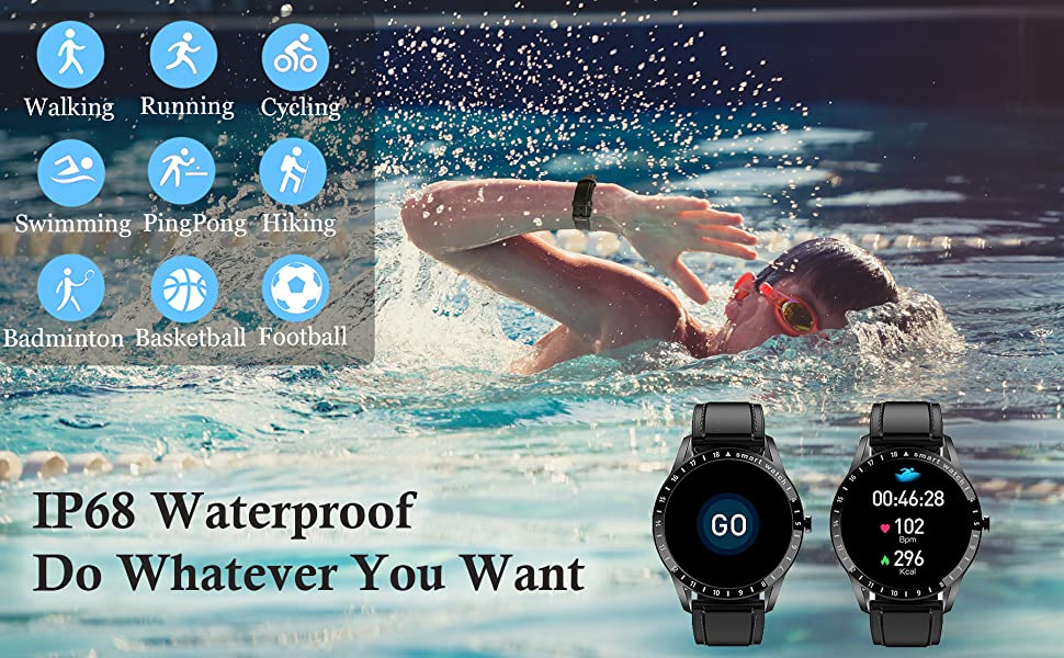 It is IP68 waterproof has 9 kinds of sport modes, swimming walking cycling hiking ect.