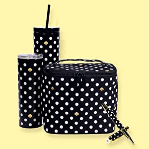 kate spade new york, polka dot collection, lunch tote, tumbler, thermal, metal ballpoint pen