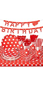 24 Guests Red Polka Dot Party Supplies B08VWSHVT4
