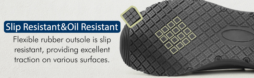 Flexible rubber outsole is slip and oil resistant and provides excellent traction