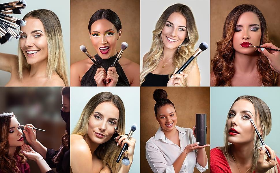 Makeup brush set professional enthusiasts gift present powder blush blender holder sponge vegan