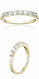 Vir Jewels 3/4 cttw Diamond Wedding Band in 14K Yellow Gold 7 Stones Prong Set