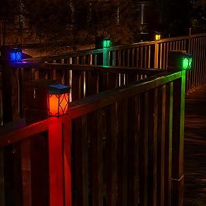 Solar deck railing lights