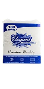 3-Ply Dinner Napkins (200 Count) - 3 Ply White Dinner Napkins - Disposable Napkins with Printed