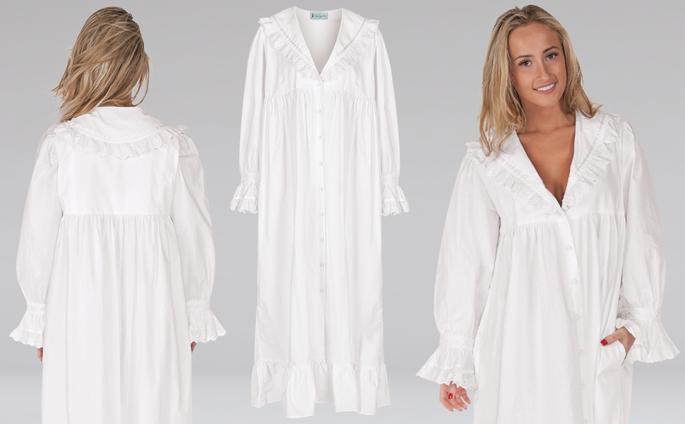 Woman in white nightgown on white background