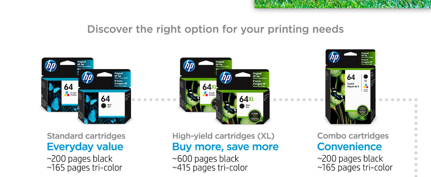 original hp 64 ink standard high-yield multipack cartridges Instant Ink value