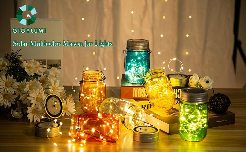 solar multicolor mason jar lights